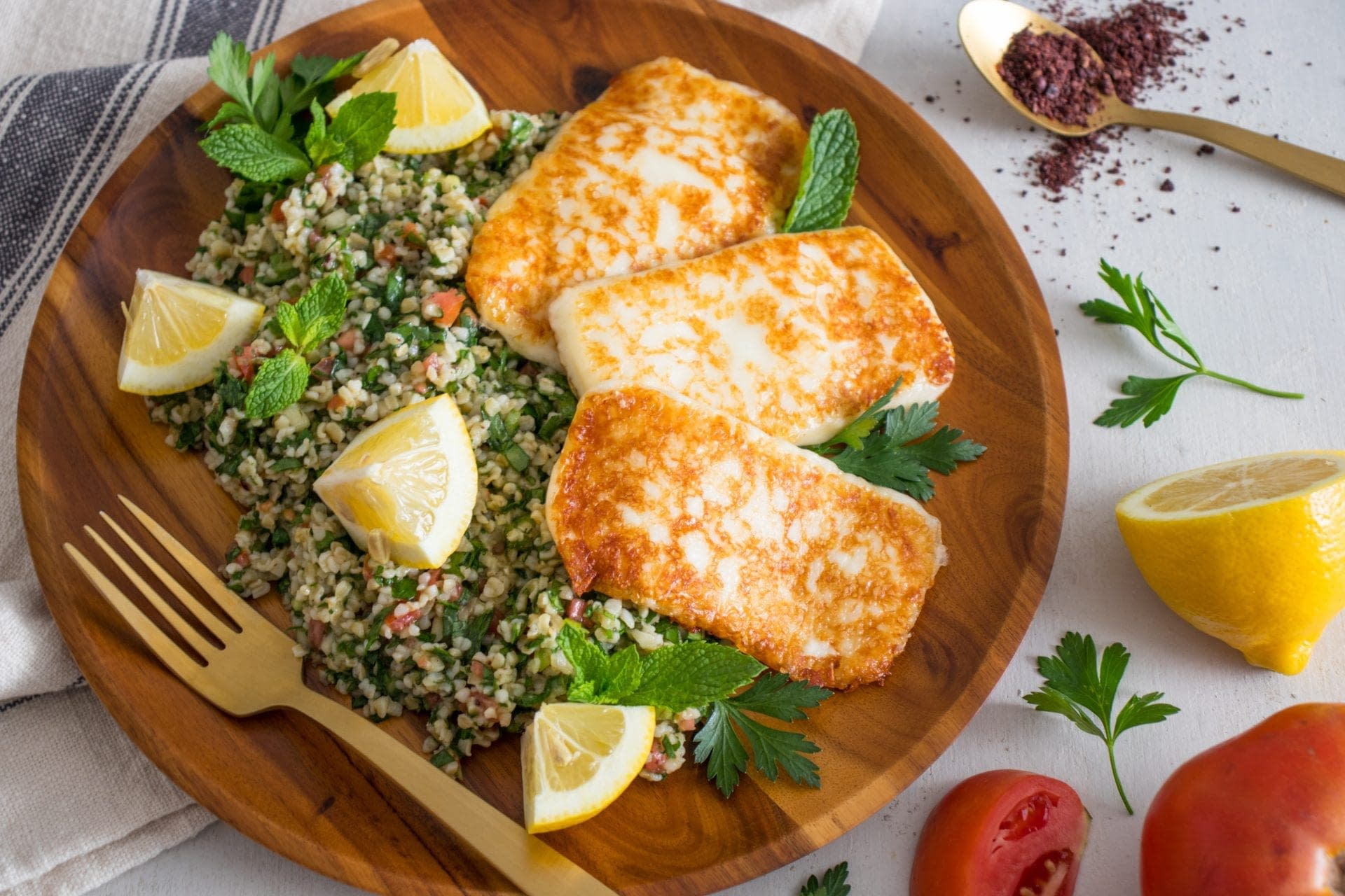 Halloumi Tabbouleh with Sumac and Olive Oil Dressing