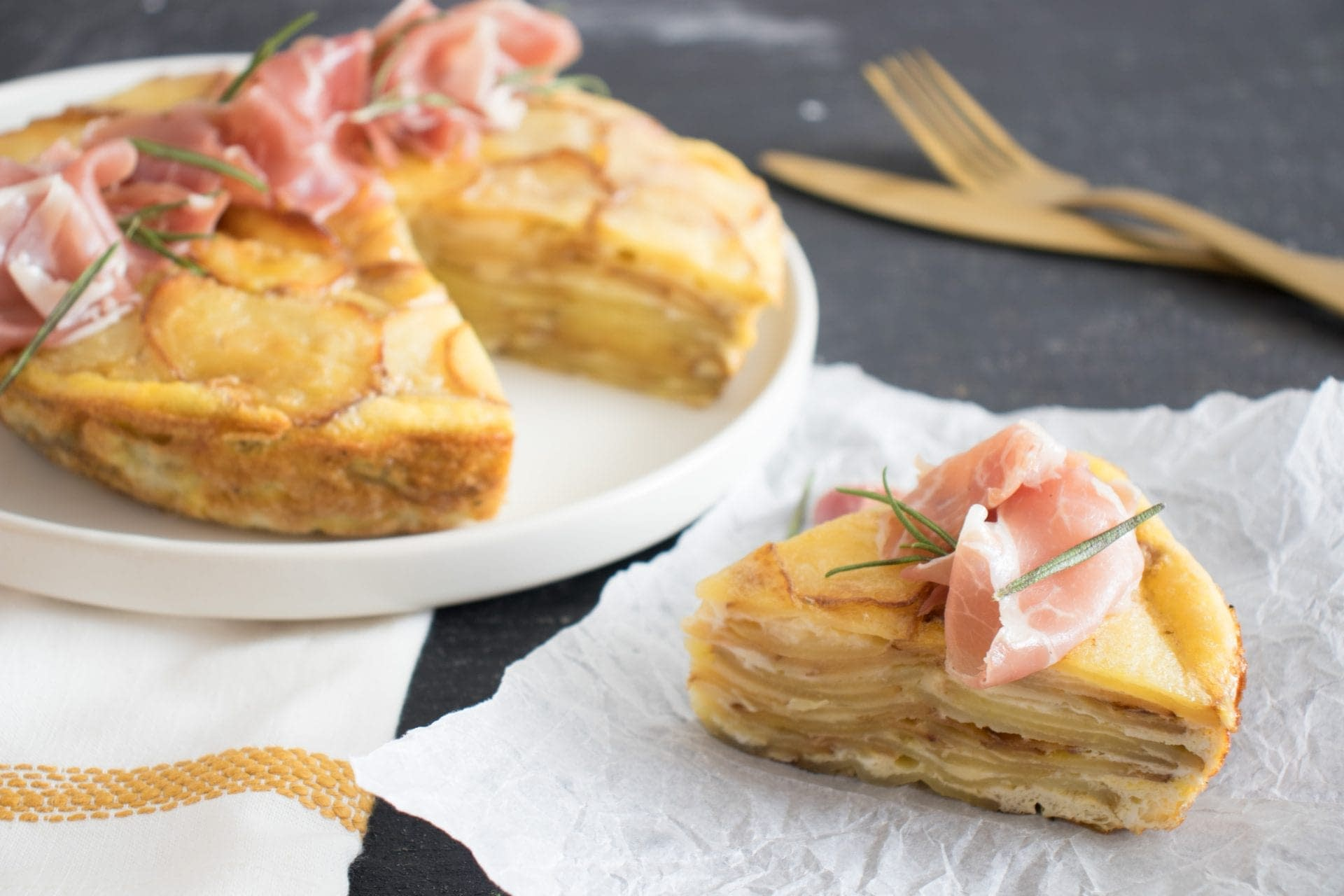 Spanish Potato & Egg Tortilla with Serrano Ham