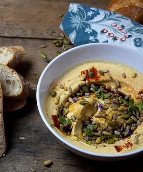 Pumpkin Hummus with Pomegranate Molasses and Sunflower Seeds