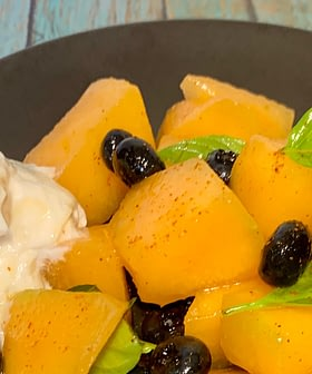 Juicy Melon Salad with Greek Yogurt and Honey
