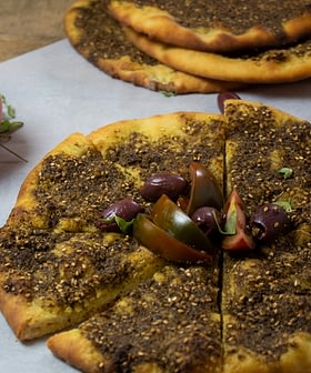 Za'atar and Olive Oil Flatbread with Tomatoes and Olives