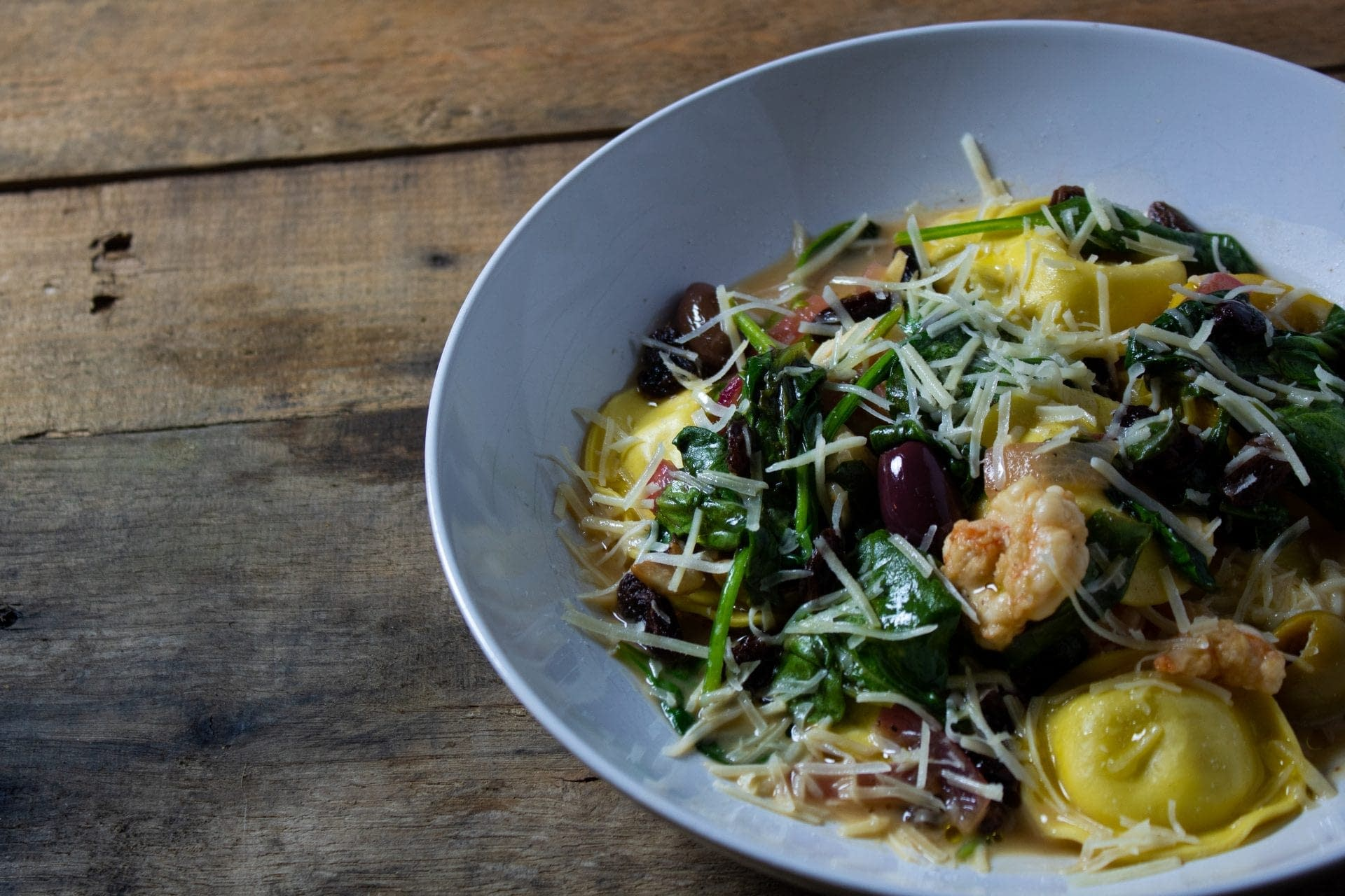 Ravioli with Gulf Shrimp, Spinach, Olives and Raisins