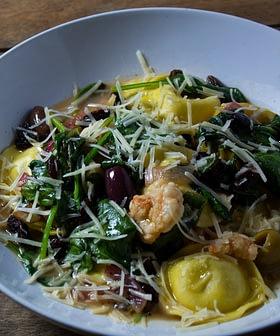 Ravioli with Gulf Shrimp, Spinach, Olives and Raisins