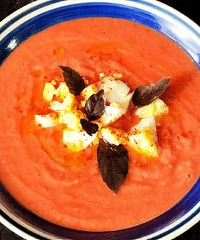 Salmorejo (Chilled Tomato Soup with Herbed Olive Oil)