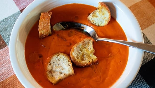 Sweet Potato and Tomato Soup with Olive Oil and Za'atar Croutons