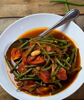 Stewed Green Beans and Heirloom Tomatoes