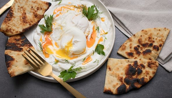 Poached Eggs and Yogurt with Smoky Pepper Infused Olive Oil