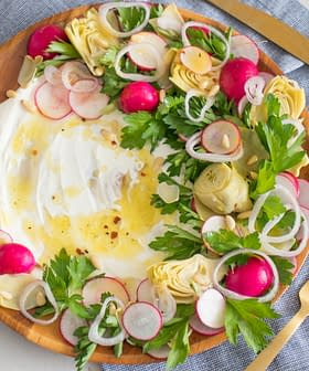 Artichoke & Radish Salad with Savory Olive Oil Mascarpone Cheese