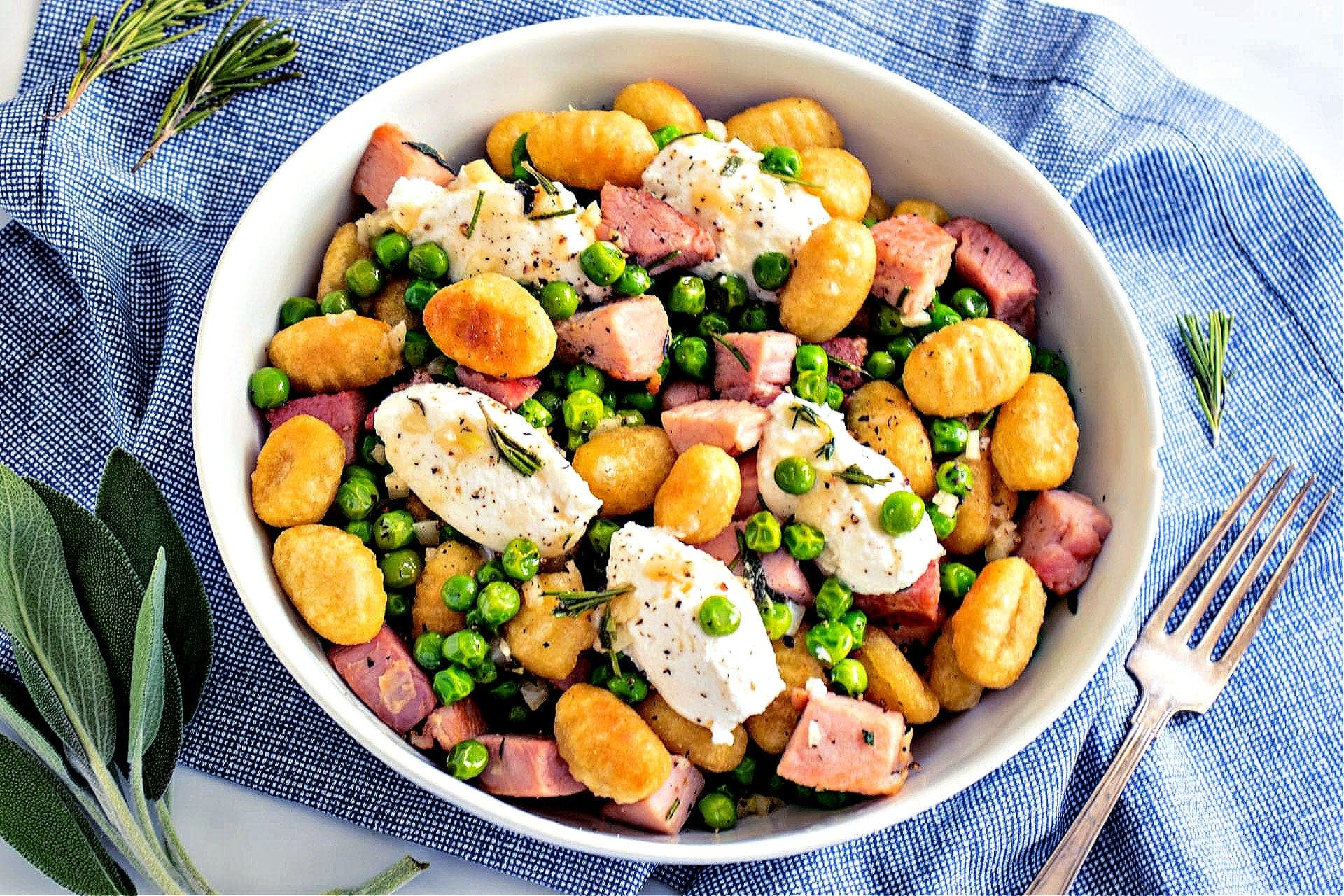 Crispy Gnocchi with Peas, Ham and Ricotta