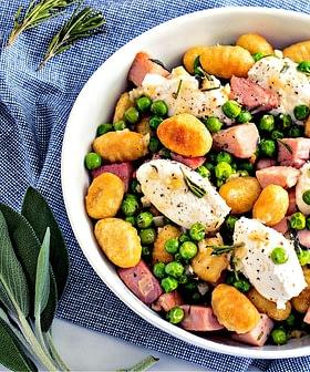 Crispy Gnocchi with Peas, Ham and Ricotta