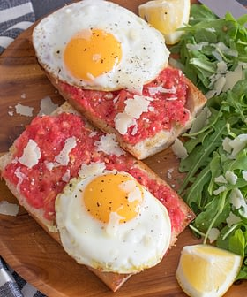 Spanish Tomato Bread (Pan con Tomate) with Olive Oil Fried Eggs