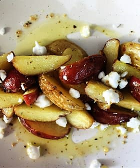 Lemon Olive Oil Fingerling Potatoes with Feta