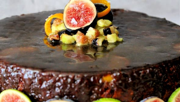 Fig & Olive Oil Cake with a Cognac Glaze