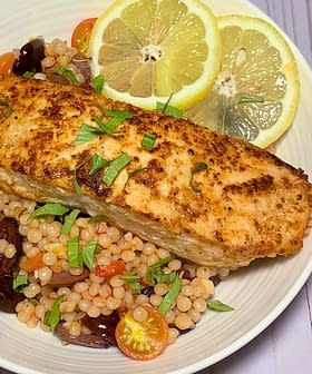 Salmon Couscous with Olives, Tomatoes