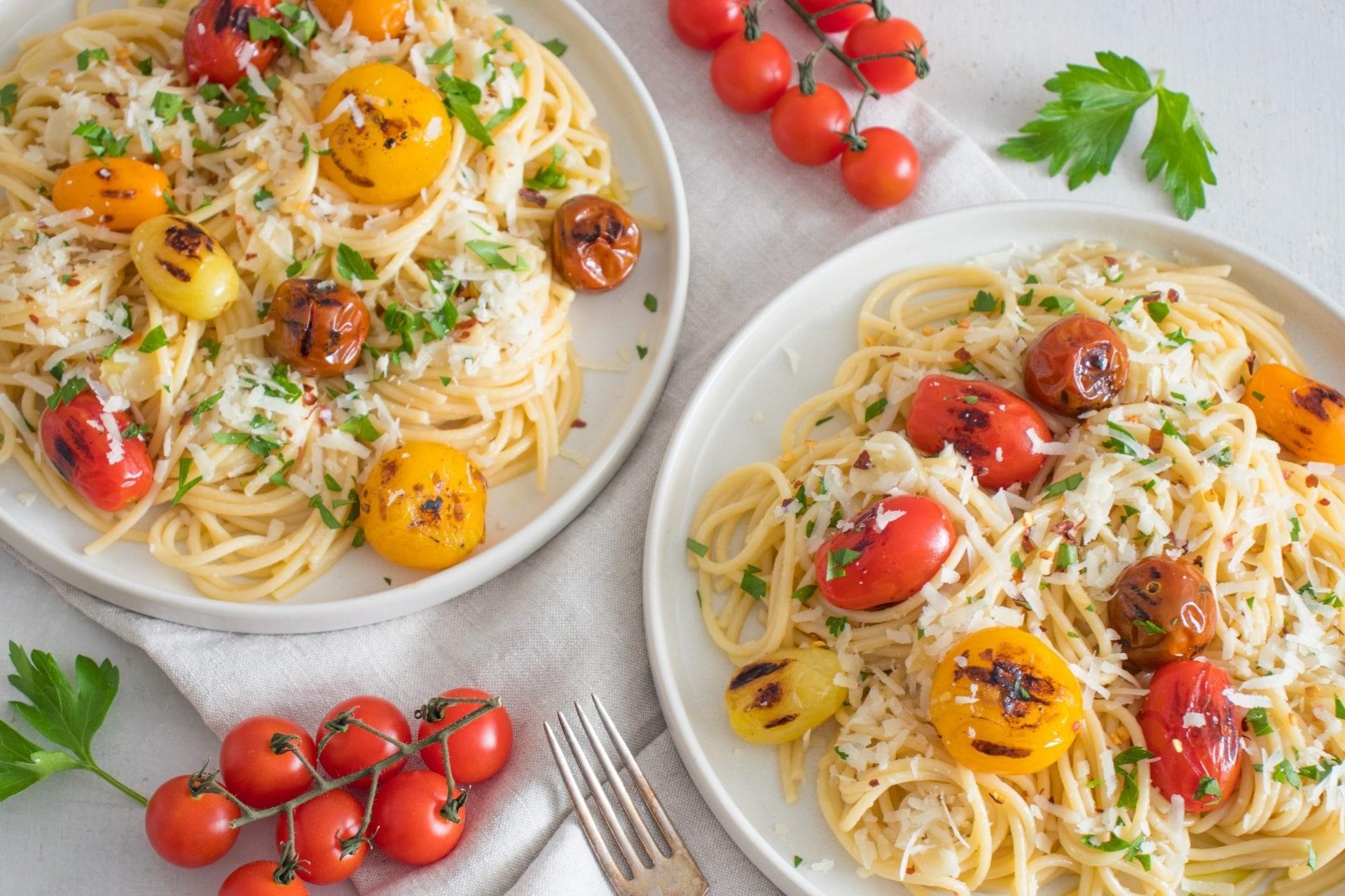 Pasta Aglio e Olio with Grilled Tomatoes